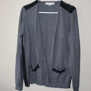Ann Taylor LOFT Open Cardigan Sweater Sz L Lace